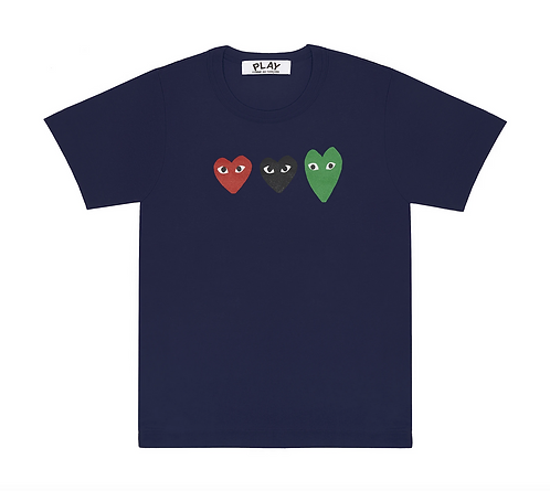 CDG PLAY 3 Heart Navy T-Shirt