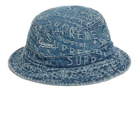Supreme warp jacquard logos denim crush bucket hat