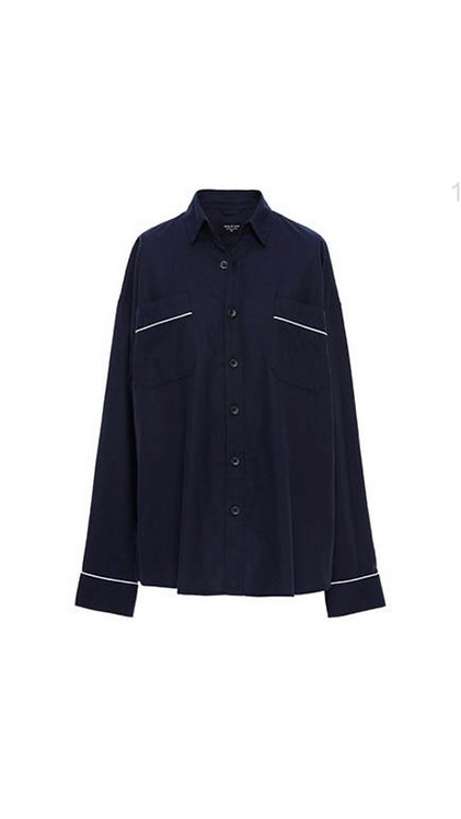 FEAR OF GOD FIFTH COLLECTION NAVY PIPED OVERSIZED SHIRT (NAVYBLUE)