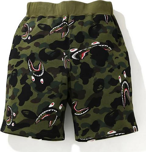 Bape Shark 1st Camo Wide Sweat Shorts Mens