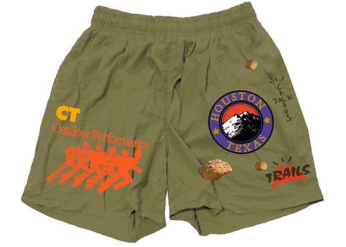 Travis Scott Running Wild Shorts Olive
