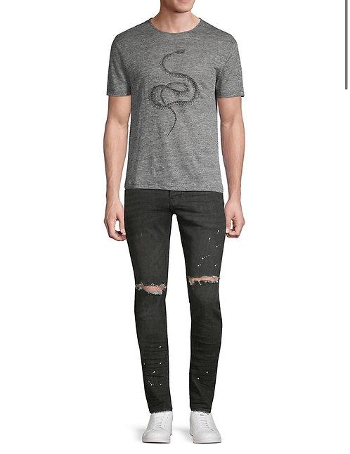 Purple Slim Fit Black Over Spray Jeans