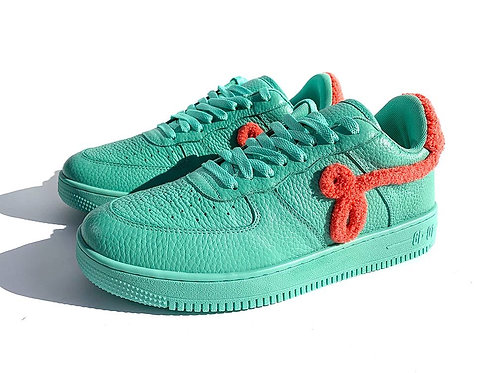"GF-01 by John Geiger ""Teal Pebbled Leather Peach Chenille"" Sneakers"