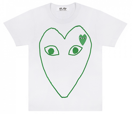 CDG PLAY GREEN HEART OUTLINE