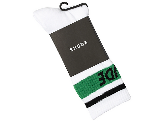 RHUDE 2 STRIPED LOGO SOCKS