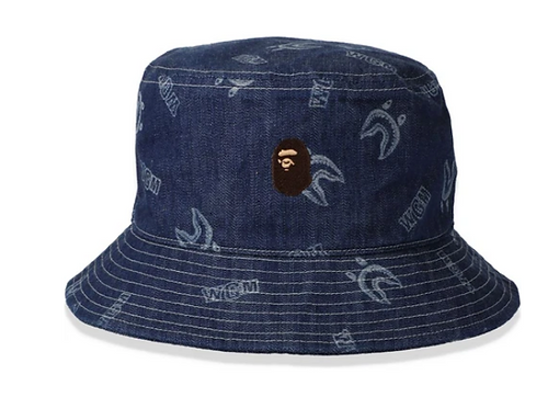 BAPE SHARK PATTERN BUCKET HAT