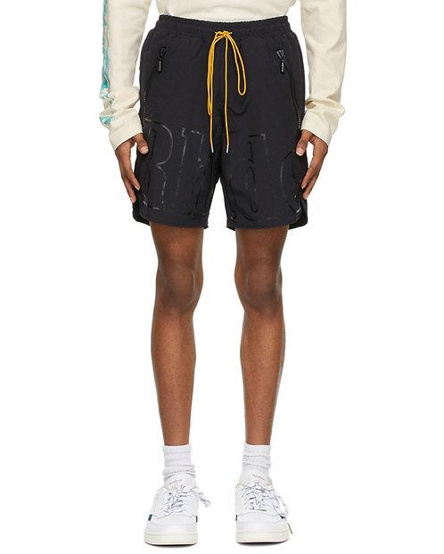Rhude Exclusive Black Logo Shorts