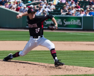 Pictured above: Michael Driscoll, third year Northeastern University baseball pitcher from North Reading, MA. Courtesy of Skip Jahn