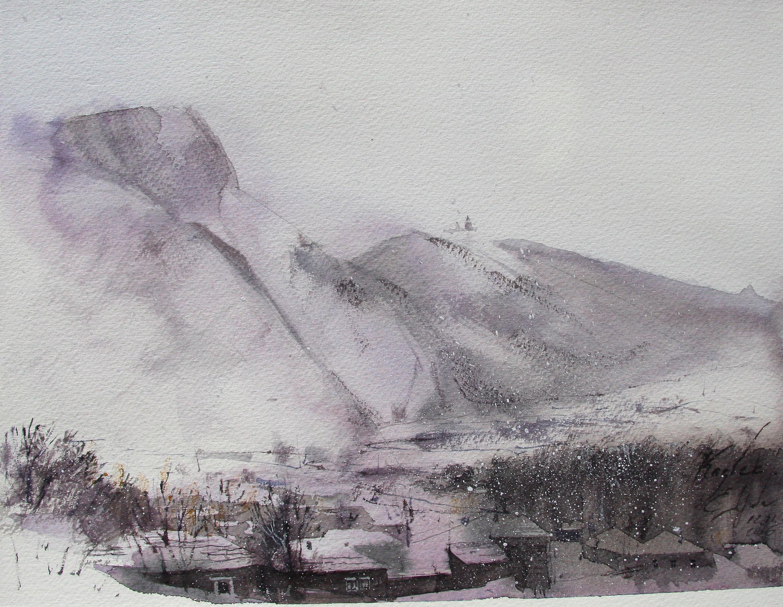 Зима на горе Казбек