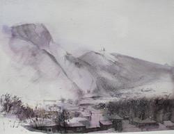 Caucasus. Kazbek mountain in winter