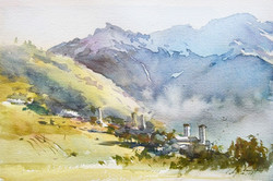 Mornig in Mountain village.