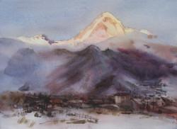 Sunrise at Kazbek mount