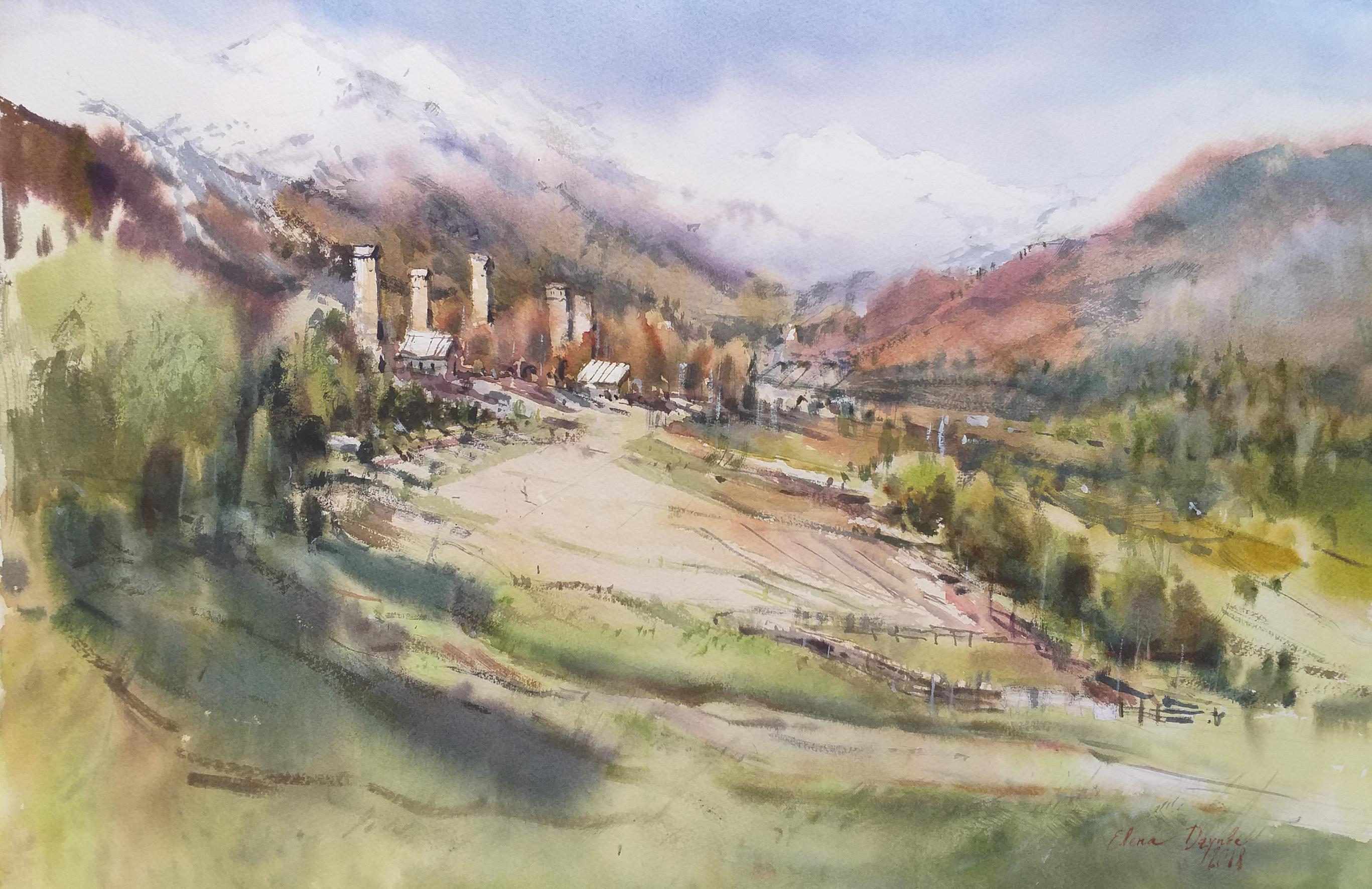 Весеннее поле в горах Сванетии