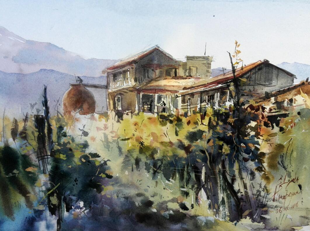 Vineyard in fall.