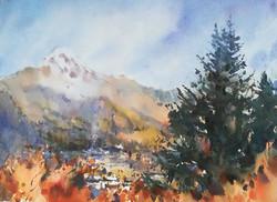 View to Kazbek Mountain in October