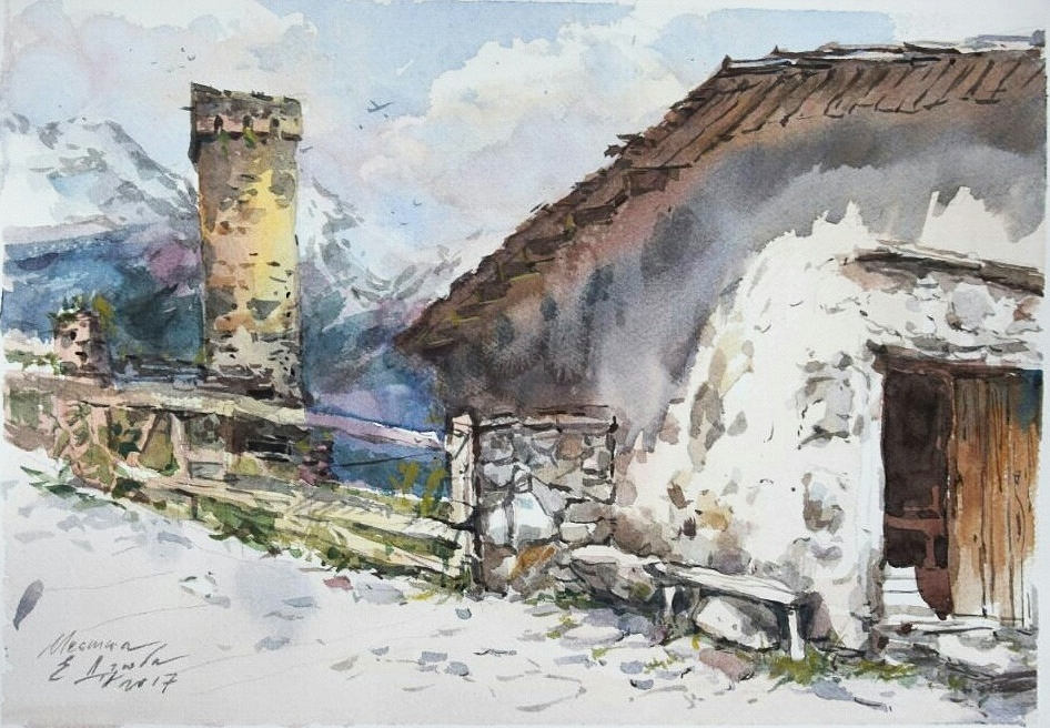 Old barn in a mountain village