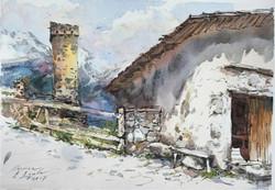 Типичный двор в Сванетии