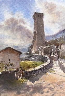 Ancient Svan tower in Mestia village