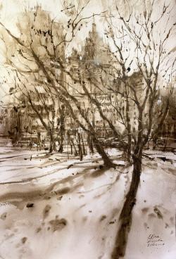 Московский дворик, последний снег.