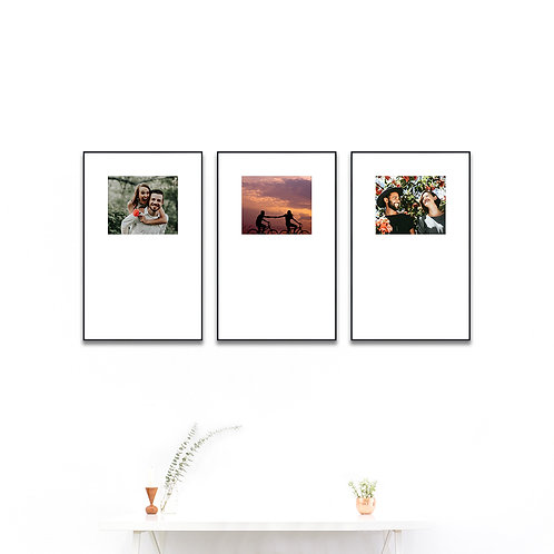 Metal Gallery Wall - Set of 3 Custom Prints & Frames