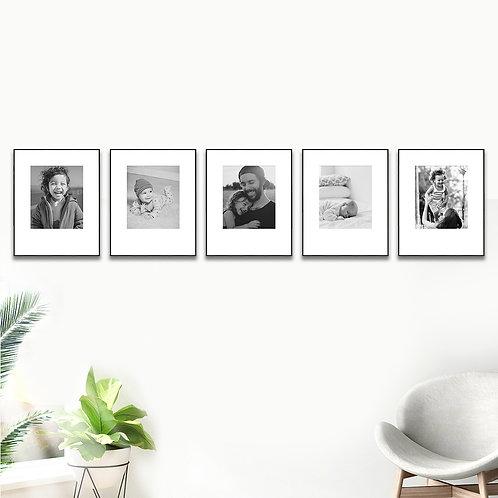 Metal Gallery Wall - Set of 5 Custom Prints & Frames