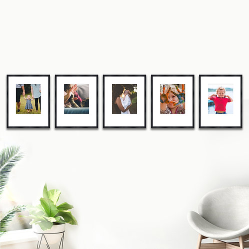 Pure Wood Gallery Wall - Set of 5 Custom Prints & Frames