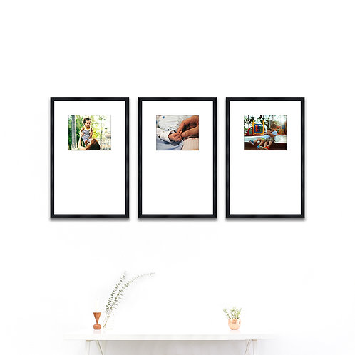 Pure Wood Gallery Wall - Set of 3 Custom Prints & Frames