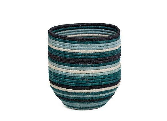 Teal + Black Striped Dunia Vase by KAZI