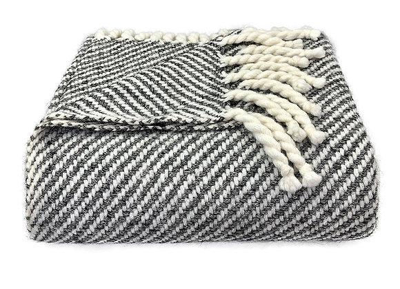 Chunky Black Stripe Alpaca Throw by SLATE + SALT