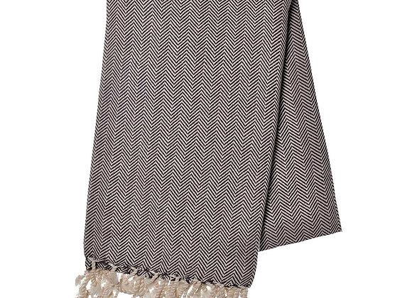 Black Herringbone Turkish Towel by SLATE + SALT