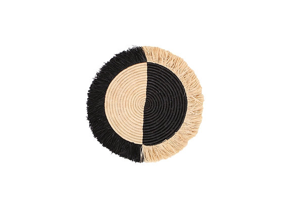 Black Half Moon Fringed Wall Disc by KAZI