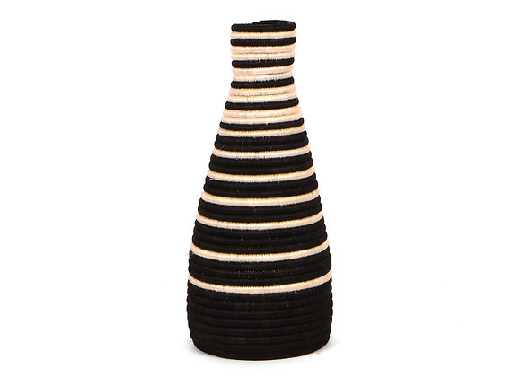 Black Striped Tall Vase by KAZI