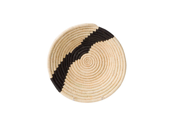 'Striped Black + Natural' Medium Round Basket by KAZI