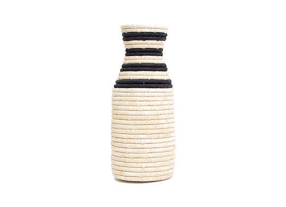 Striped Black Raffia Milk Bottle Vase by KAZI