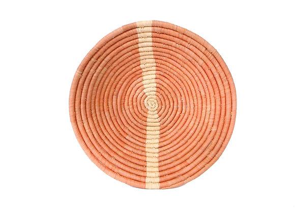 Large Peach Striped Round Basket by KAZI