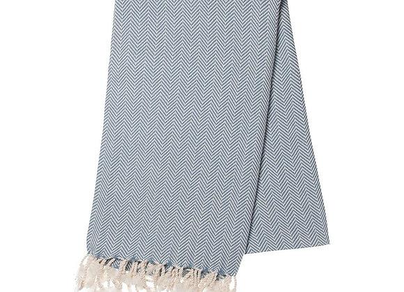 Ocean Blue Herringbone Turkish Towel