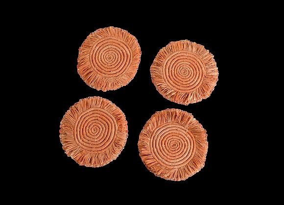 Peach Fringed Raffia Drink Coasters by KAZI
