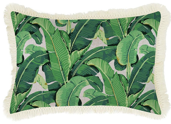 'Banana Leaf' Pillow Cover with Fringe - Long