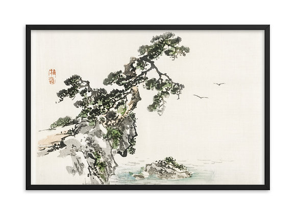'Cliff' by Kōno Bairei Framed