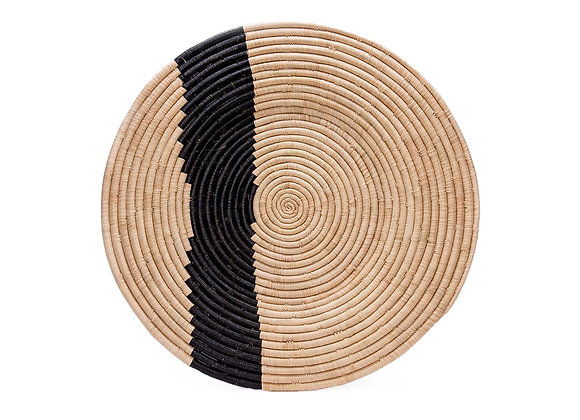 Extra Large Striped Black + Natural Wall Plate by KAZI
