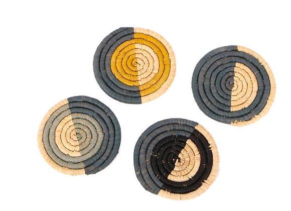 'Opal Gray + Mustard' Raffia Coasters by KAZI