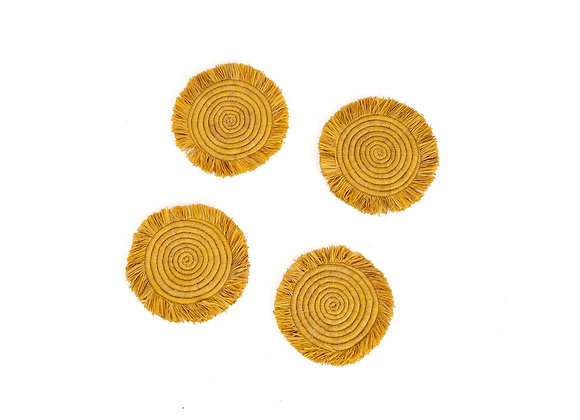 'Sunset' Fringed Raffia Coasters, Set of 4