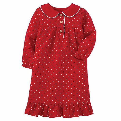 Polka Dot Flannel Gown