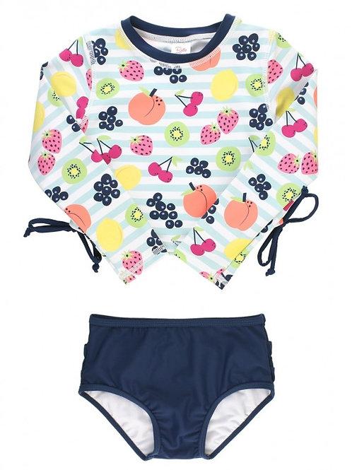 Fruit Fiesta Cropped Long Sleeve Rash Guard Bikini