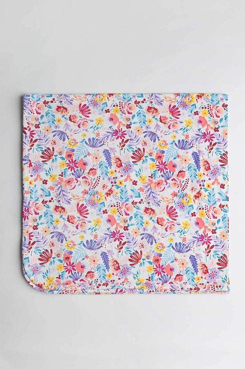 Light Filed Flowers Stretch Knit Blanket