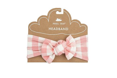 Gingham Headband Pink