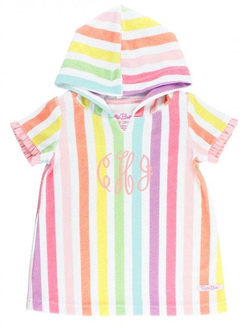 Rainbow Stripe Ruffle Terry Cover-Up
