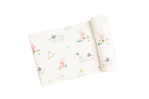 Little Farmer Girl Swaddle Blanket Ivory
