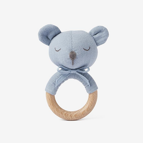 Ring Rattle Muslin Blue