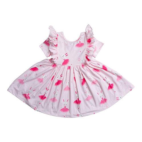 Ballet Bunny Short Sleeve Ruffle Twirl Dress